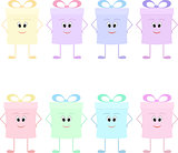 Funny gift boxes characters with bows