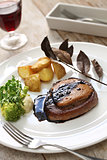 beef steak with foie gras