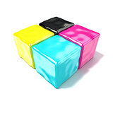 CMYK cubes sign, like symbol of printing. 3D