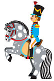 cartoon soldier on a grey horse