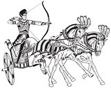 Egyptian chariot  black and white