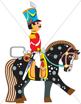 cartoon soldier on a black horse