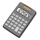 Illustration of Isolated Calculator Cartoon Drawing
