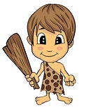 Cartoon Stone Age Cute Cave Boy