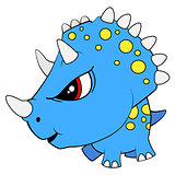 Cartoon Blue Baby Triceratops Dinosaur