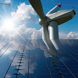 Solar Panels - Wind Turbine - Power Line