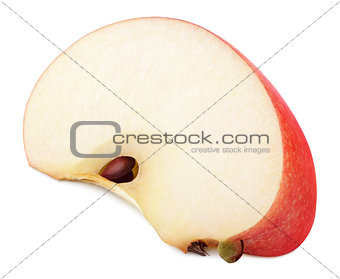 Slice of red apple fruit isolated on white