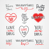 Happy Valentines Day hand written lettering set, vintage style labels.