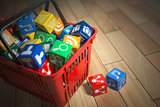 Application software icons  boxes in the shopping basket. Store