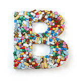 Letter B. Set of alphabet of medicine pills, capsules, tablets a