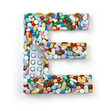 Letter E. Set of alphabet of medicine pills, capsules, tablets a