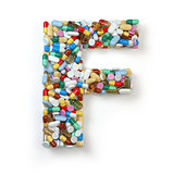 Letter F. Set of alphabet of medicine pills, capsules, tablets a