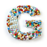 Letter G. Set of alphabet of medicine pills, capsules, tablets a