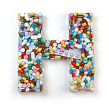 Letter H. Set of alphabet of medicine pills, capsules, tablets a