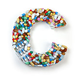 Letter C. Set of alphabet of medicine pills, capsules, tablets a