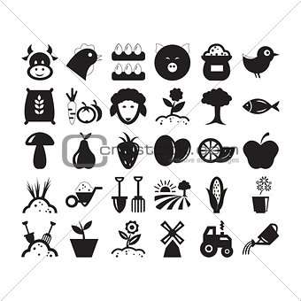 Flat black agriculture icon set