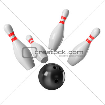 Bowling Ball crashing into the pins on white background. 3D rendering