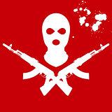 Balaclava and two crossed AK-47, terrorist's mask