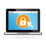 Laptop icon with padlock on screen - security concept