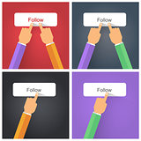 Finger pressing Follow button
