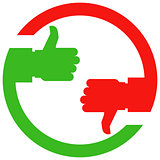 Thumb up and thumb down hands - vote or choice icon