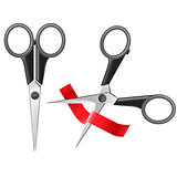 Office scissors cutting red ribbon - grand opening