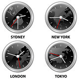 World time - clocks with city names and maps of their continent