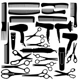 Barber hairdressing salon equipment - hairdryer, scissors and co