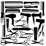 Barber hairdressing salon equipment - hairdryer, scissors and co