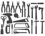 Hand work tools silhouette set