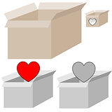 Grey and light brown present box with heart for woman days.