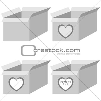 Grey present box four items.