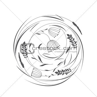 Circle with grass and flowers