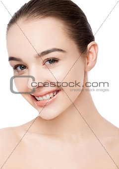 Beautiful woman with cute smile natural makeup spa