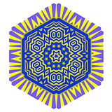 Creative Ornamental Blue Yellow Pattern.