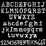Vector old typewriter font. Vintage grunge letters. Old destroyed printed letters.