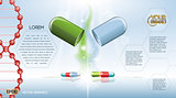 Digital vector green and blue medicine pill