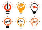 Stylized set of vector lightbulbs, collection colorful logotypes. New idea symbols, flat bright cartoon bulbs. White and orange colors sign. Idea icon, circle logo.