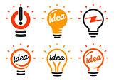 Stylized set of vector lightbulbs, collection colorful logotypes. New idea symbols, flat bright cartoon bulbs. White and orange colors sign. Idea icon, circle logo.