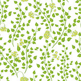 Little green leaves, seamless vector pattern