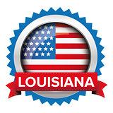 Louisiana and USA flag badge vector