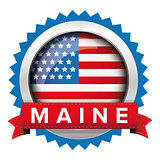 Maine and USA flag badge vector