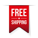 Free Shipping ribbon red vector