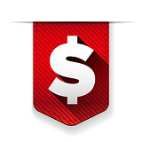 Dollar Sign Red Vector Icon ribbon