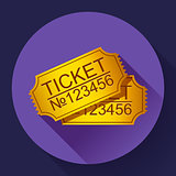 pair of yellow cinema tickets on blue