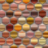 Bronze roze gold gradients set in hexagons. BIG Collection of beige gradient illustrations