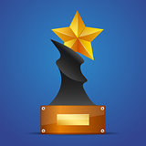 Golden star award on blue vector illustration.