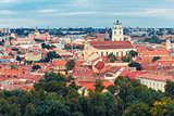 Aerial view over Old town of Vilnius, Lithuania.