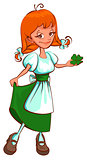St. Patricks Day. Irish red haired girl holding clover leaf