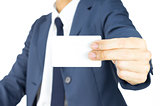 Businessman Hold Business Card or White Card by Two Finger at Si